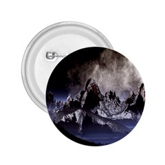 Mountains Moon Earth Space 2 25  Buttons by Onesevenart