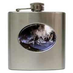 Mountains Moon Earth Space Hip Flask (6 Oz) by Onesevenart