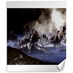 Mountains Moon Earth Space Canvas 8  X 10  by Onesevenart