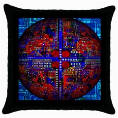 Board Interfaces Digital Global Throw Pillow Case (black) by Onesevenart