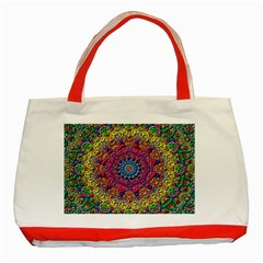 Background Fractals Surreal Design Classic Tote Bag (red) by Onesevenart