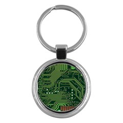 Board Computer Chip Data Processing Key Chains (round)