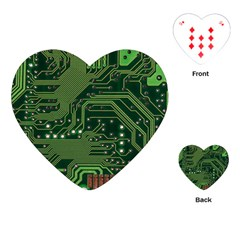 Board Computer Chip Data Processing Playing Cards (heart)  by Onesevenart