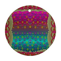 Years Of Peace Living In A Paradise Of Calm And Colors Round Ornament (two Sides) by pepitasart
