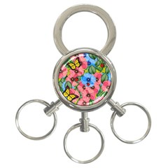 Floral Scene 3 Ring Key Chains by linceazul