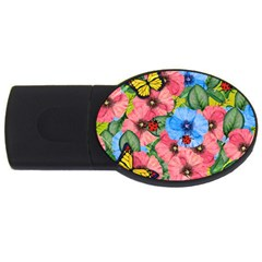 Floral Scene Usb Flash Drive Oval (4 Gb) by linceazul
