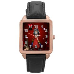 Funny, Cute Parrot With Butterflies Rose Gold Leather Watch  by FantasyWorld7
