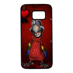 Funny, Cute Parrot With Butterflies Samsung Galaxy S7 Black Seamless Case by FantasyWorld7