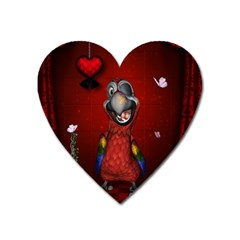 Funny, Cute Parrot With Butterflies Heart Magnet by FantasyWorld7