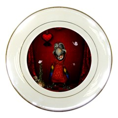Funny, Cute Parrot With Butterflies Porcelain Plates by FantasyWorld7