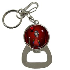 Funny, Cute Parrot With Butterflies Bottle Opener Key Chains by FantasyWorld7
