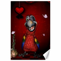 Funny, Cute Parrot With Butterflies Canvas 24  X 36  by FantasyWorld7
