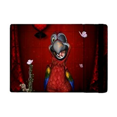 Funny, Cute Parrot With Butterflies Ipad Mini 2 Flip Cases by FantasyWorld7
