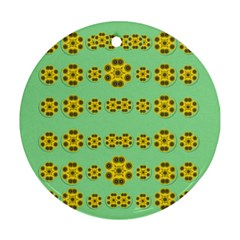 Sun Flowers For The Soul At Peace Round Ornament (two Sides) by pepitasart