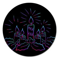 Advent Wreath Candles Advent Magnet 5  (round) by Nexatart