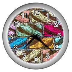 Colorful Painted Bricks Street Art Kits Art Wall Clocks (silver)  by Costasonlineshop