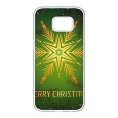 Christmas Snowflake Card E Card Samsung Galaxy S7 Edge White Seamless Case by Nexatart