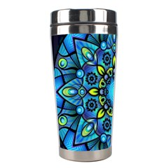 Mandala Blue Abstract Circle Stainless Steel Travel Tumblers by Nexatart
