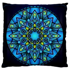 Mandala Blue Abstract Circle Large Flano Cushion Case (one Side)