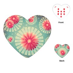 Background Floral Flower Texture Playing Cards (heart)  by Nexatart