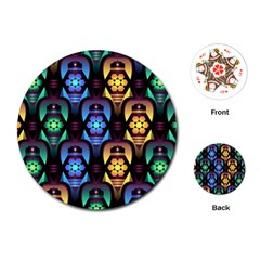 Pattern Background Bright Blue Playing Cards (round)