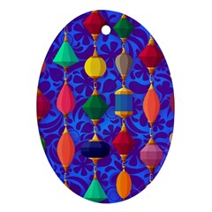 Colorful Background Stones Jewels Oval Ornament (two Sides) by Nexatart