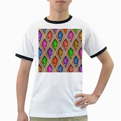 Abstract Background Colorful Leaves Ringer T Shirts