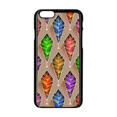 Abstract Background Colorful Leaves Apple Iphone 6/6s Black Enamel Case by Nexatart