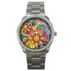 Colorful Abstract Background Colorful Sport Metal Watch by Nexatart