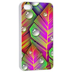 Abstract Background Colorful Leaves Apple Iphone 4/4s Seamless Case (white) by Nexatart
