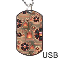 Background Floral Flower Stylised Dog Tag Usb Flash (one Side) by Nexatart