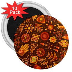 Pattern Background Ethnic Tribal 3  Magnets (10 Pack)  by Nexatart