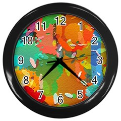 Background Colorful Abstract Wall Clocks (black) by Nexatart
