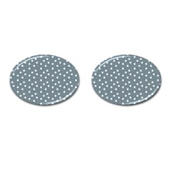 Floral Dots Blue Cufflinks (oval) by snowwhitegirl