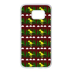 Dino In The Mountains Red Samsung Galaxy S7 Edge White Seamless Case