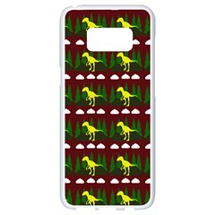 Dino In The Mountains Red Samsung Galaxy S8 White Seamless Case by snowwhitegirl