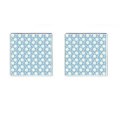 Daisy Dots Light Blue Cufflinks (square)