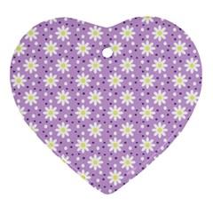 Daisy Dots Lilac Ornament (heart) by snowwhitegirl