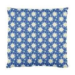 Daisy Dots Blue Standard Cushion Case (one Side) by snowwhitegirl