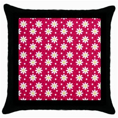 Daisy Dots Light Red Throw Pillow Case (black)