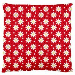 Daisy Dots Red Large Cushion Case (one Side) by snowwhitegirl