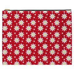 Daisy Dots Red Cosmetic Bag (xxxl)  by snowwhitegirl