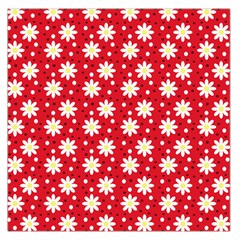 Daisy Dots Red Large Satin Scarf (square) by snowwhitegirl