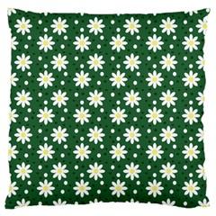 Daisy Dots Green Large Cushion Case (two Sides) by snowwhitegirl