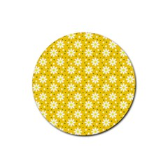 Daisy Dots Yellow Rubber Coaster (round)  by snowwhitegirl