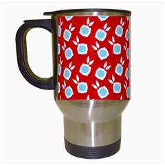 Square Flowers Red Travel Mugs (white)