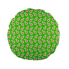 Square Flowers Green Standard 15  Premium Flano Round Cushions by snowwhitegirl
