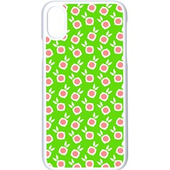 Square Flowers Green Apple Iphone X Seamless Case (white) by snowwhitegirl