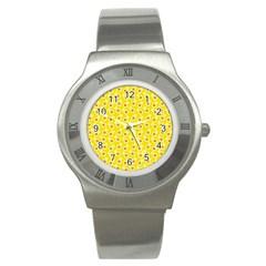 Square Flowers Yellow Stainless Steel Watch by snowwhitegirl