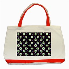 Daisy Dots Navy Blue Classic Tote Bag (red) by snowwhitegirl